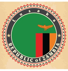 Vintage label cards of Zambia flag vector