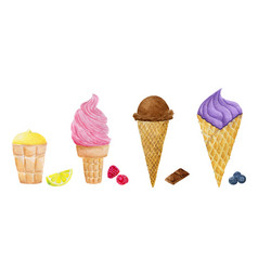 watercolor ice cream collection vector image