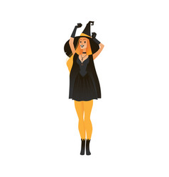 woman in witch costume for vector image