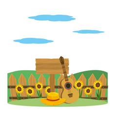 wooden sign cartoon vector image