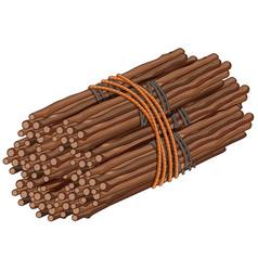 Wooden sticks in big bundle vector