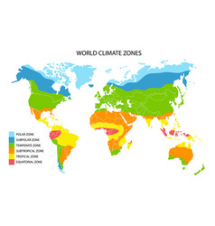 world climate zones map geographic vector image