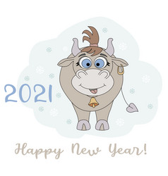 year bull 2021 funny character a cute vector image