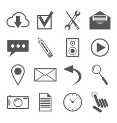 black and white icons set for web and mobile vector image
