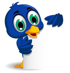Cute blue bird cartoon holding blank sign vector
