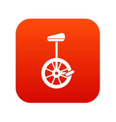 unicycle icon digital red vector image