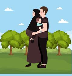 happy couple outdoor beautiful pregnant woman vector image vector image