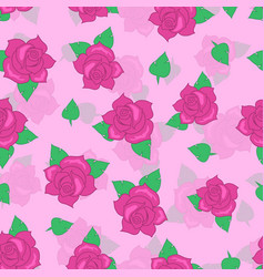 pink rose with green leaf seamless pattern vector image vector image