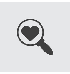 Search with heart sign icon vector image vector image
