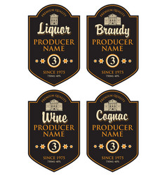 set of retro labels for various alcohol beverages vector image vector image