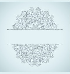template of greeting card floral oriental pattern vector image