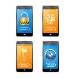 unlock screen concept mobile ui set vector image vector image