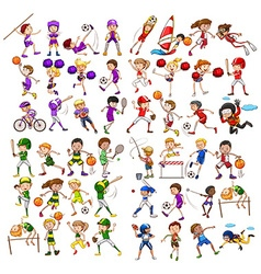 Kids playing various sports vector image