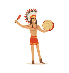 native american indian in traditional in loincloth vector image vector image