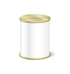 Realistic blank tin for canned food preserve vector