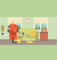 robot cleaning carpet with vacuum cleaner vector image vector image