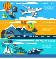 Travel vacation camping banners set vector image vector image