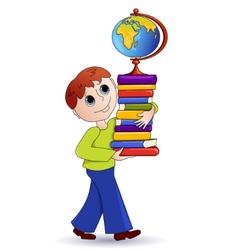 cartoon school boy vector image