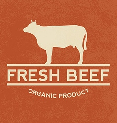 Premium beef label with grunge texture organic vector image