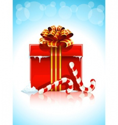 red box with Christmas gift vector image vector image