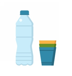Water Bottle and Cups vector image vector image