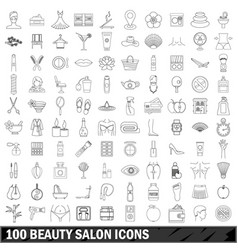 100 beauty salon icons set outline style vector