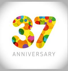 37 years anniversary circle colorful logo vector