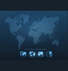 Abstract world map with globes planet earth vector