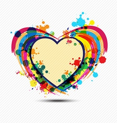 artistic heart paint design vector image vector image
