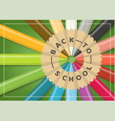 back to school close up radial color pencils vector image