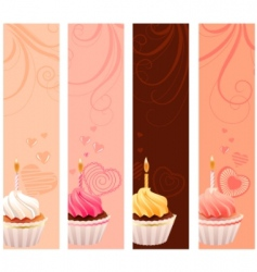 Banners with sweet small cakes vector