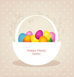basket with color eggs vector image