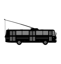 black and white image of the trolleybus vector image
