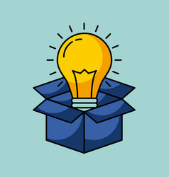 cardboard box with lightbulb coming out idea vector image