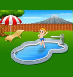 Cartoon boy jumping in swimming pool vector