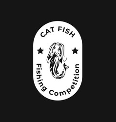 cat fish fishing competition concept modern logo vector image