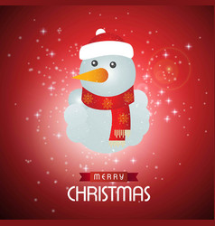 christmas card with snow man and red snowy vector image