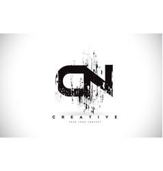 Cn c n grunge brush letter logo design in black vector