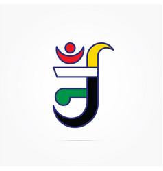 Colorful aum symbol of jainism vector