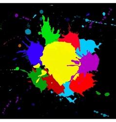 colorful splashesh isolated on black background vector image