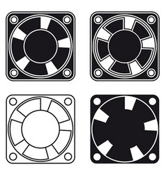computer fan ventilator black symbol vector image