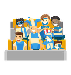 crowd of multiethnic sport supporters at stadium vector image