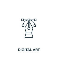 digital art icon thin outline style design from vector image