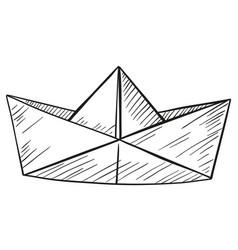 Doodle paper boat vector
