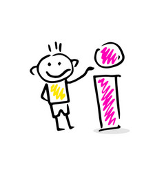 drawing of a stick figure with info sign vector image