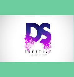 Ds d s purple letter logo design with liquid vector