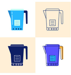 electric kettle icon set in flat and line styles vector image
