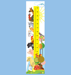 farm animals height meter vector image