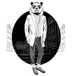 Fashion hipster panda on city background vector