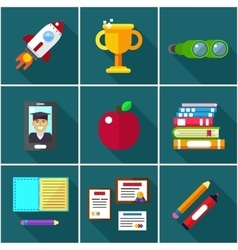 flat icons of elements objects for education vector image